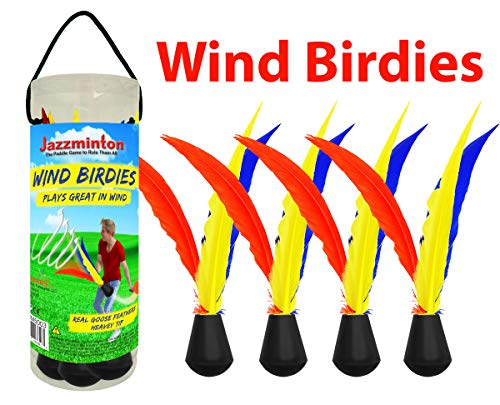Funsparks Jazzminton Wind Birdies or Shuttlecocks - Played Outdoors at The Beach, Lawn or Tailgating for Windy Conditions or Advanced Players