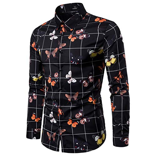 Mens Button Down Shirts Long Sleeve Shirts, MmNote Casual 3D Printing Slim Cool Quick Long Sleeve Tops(S-XXL) (Plate Code Fur Item)