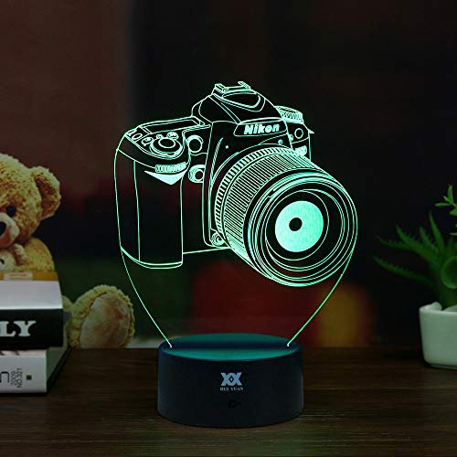 PRY-OOO 3D Illusion Lamp Camera Night Light for Kids Toy Toddlers Illusion Birthday Gift LED Desk Table Lamp Optical Effect Lights Remote Control Touch Home Decor Holiday Birthday ()