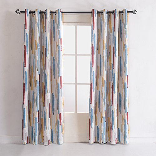 Cherry Home Country Oil Print Pastel Crayon Graffiti Blackout Lined Curtain Panel Drapes Nickle Grommet 52Wx72L Inch,1 Panel for Bedroom Living Room, Club,Hotel, Restaurant