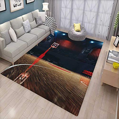 Basketball Kids Carpet Playmat Rug Picture of Empty Basketball Court Sport Arena with Wood Floor Print Door Mats for Inside Non Slip Backing 6'x8' Brown Black and Red