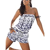 Sumtory Women's Short Jumpsuit Beachwear One Piece Off Shoulder Romper Blue M
