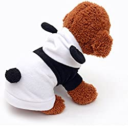 Pet Dog Clothes Cute Panda Boys&Girls Autumn&Winter Warm Fleece Coat 2 Legs Apparel Round Neck Pet Clothes For Small Dogs Cats Costume Doggy Hoddy With Cute Ear Black and White (XS)