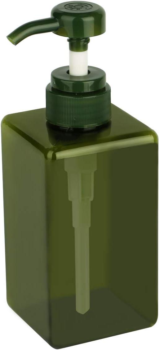 Yebeauty 450ml Pump Bottle, Empty Plastic 15oz Refillable Pump Bottle Lotion Soap Dispenser Liquid Container for Shampoo Bathroom Kitchen- Green