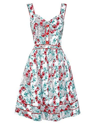 Diseño estampado con flores 50s Rockabilly de destornilladores e instrucciones para hacer vestidos Retro de