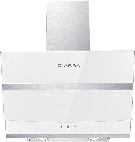 Ciarra - Campana extractora de cocina de cristal blanco, en ángulo, 60 cm: Amazon.es: Grandes electrodomésticos
