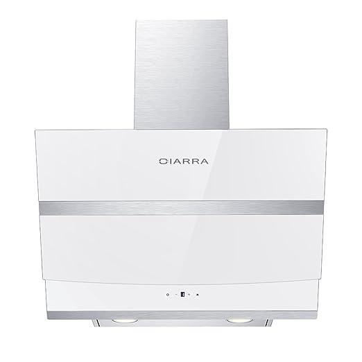 Ciarra, Cappa aspirante 60 cm, 750 m³ / h, cappa da cucina in acciaio inox  con prolunga camino e comandi touch control, bianca,Classe A