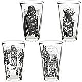 Zak Designs Star Wars Set of 4 Pint Glasses, Darth Vader, Yoda, Stormtroopers, C3P0 & R2-D2, 4 piece set