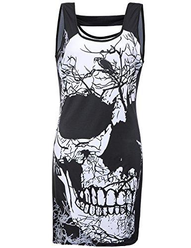 Bocaoying Women's Skull Print Slim Skirt Sexy Sleeveless Mini Dress Black (Skull Print Mini)