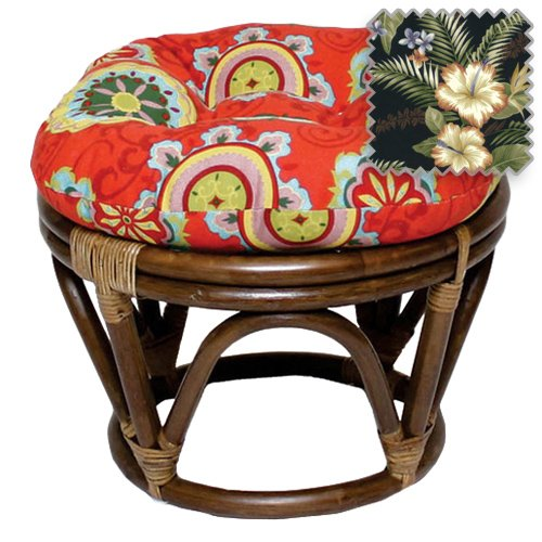 DCG Stores 18-Inch Bali Rattan Papasan Footstool with Cushion - Print Outdoor Fabric, Freeport Ebony Exclusive