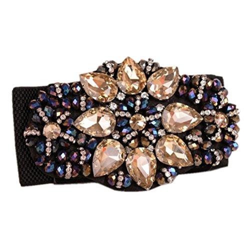 Dorchid Women Rhinstone Belt Full Crystal Buckle Cummerbund Wide Elastic Waistband 7 Colors Champagne ()
