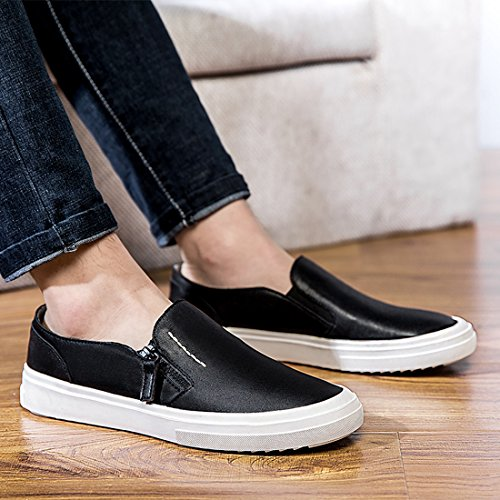 Minitoo Boys Mens Zip Solid Soft Sole Spring/Summer Loafers Black