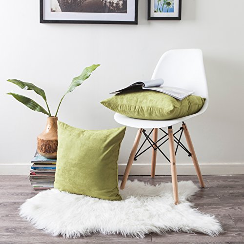 Lime Throw (Kevin Textile Decor Soft Faux Suede Cushion Cover for Couch Square Pillowcase Throw Pillow Cover Including Invisible Zipper, 18 by 18 inch, 2 Pieces, Golden Lime Green)