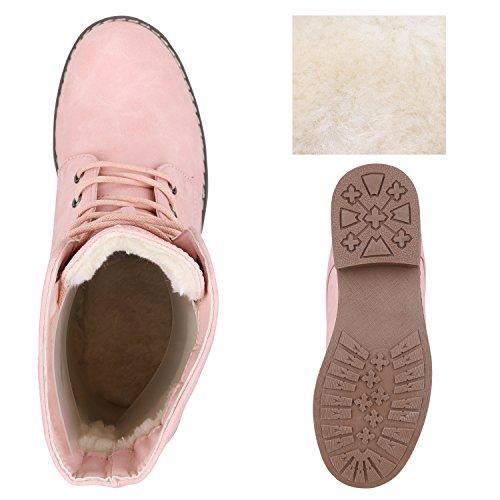 Stiefelparadies Damen Schnürstiefeletten mit Blockabsatz Profilsohle Flandell Rosa Brooklyn