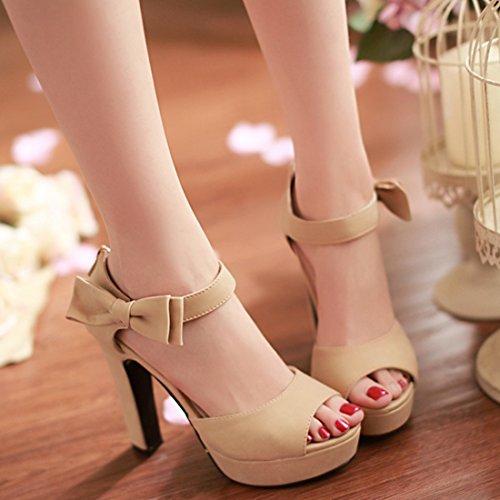 YE Damen Blockabsatz High Heels Sandalen Plateau mit Riemchen und süß Schleife Elegant Pumps 12cm Absatz Sommer Schuhe Aprikose