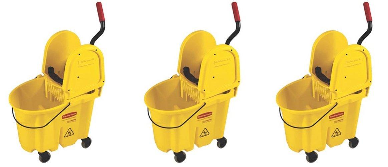 Rubbermaid Commercial 7577-88 WaveBrake 35-Quart Bucket/Wringer Combo, Yellow (3 PACK)