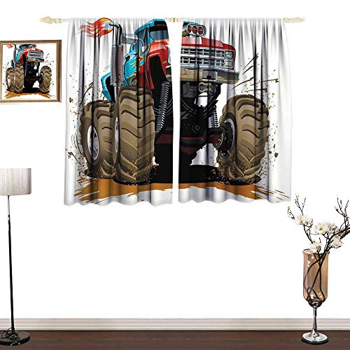 RenteriaDecor Man Cave Decor Valance Curtains Monster Truck Splashing Mud Graphic Design Flame Machinery Engine Wheels Window Curtain for Living Room W55 x L39