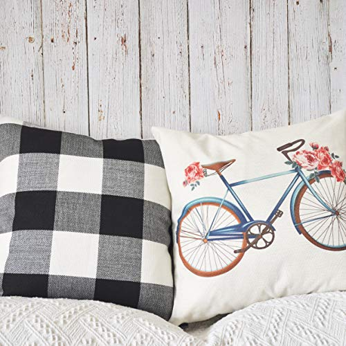 (PANDICORN Set of 2 Spring Autumn Farmhouse Black and White Decorative Throw Pillows Covers with Vintage Bicycle Flower for Couch Porch, 18 x 18 Inch)