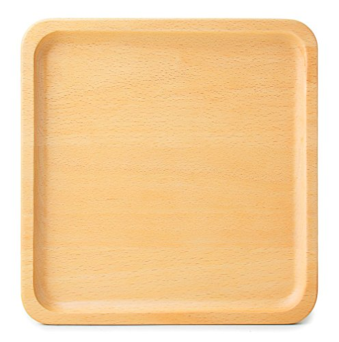 Japanese Square Style Plate (Japanese Style Wooden Tray Solid Beech Wood Serving Tray Tea Tray Beech Plate Serve Plates Wooden Board Wood Serving Tableware (Large Square))