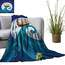 "homehot Moon Blanket Sheets Old Ship with Tempest Riding The Waves Full Moon and Stars Marine Cartoon Style Fall Winter Spring Living Room 70"" Wx70 L Blue Brown White"