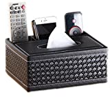 Happy Lily Multifunction Compartment PU Leather Desk Remote Controller Holder Organizer, Tissue Box Cover Holder Desk Storage Box Container, Desktop Organizer for Home and Office Use (Woven Black)