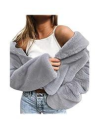 HHmei Women's Warm Winter Outerwear Coat, Loose Faux Fur Coat Outwear Jacket