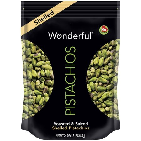 Wonderful Pistachios (Shelled Pistachios, Roasted and Salted, 24 Oz Pack of 4)