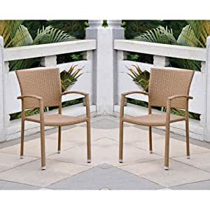 Barcelona Contemporáneo mimbre de resina, silla de jardín juego