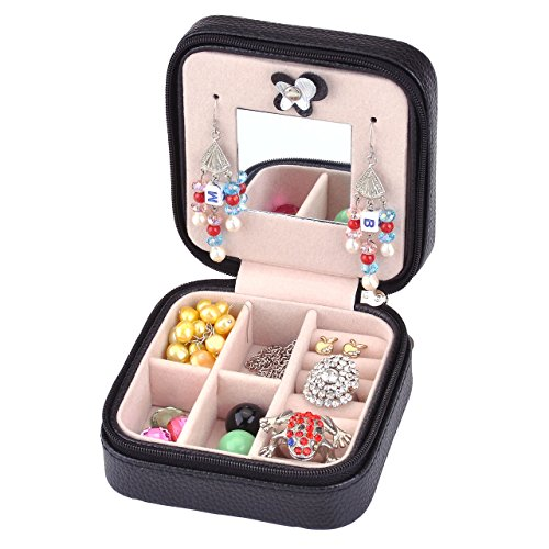 - Yerwal Small Girls Travel Jewelry Box Organizer Display Storage Case for Rings Earrings Necklace Bracelet - Faux Leather
