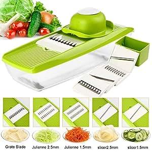 Mandoline Slicer - Potato Slicer - Vegetable Grater -Onion slicer with 5 Stainless Steel Blades - Julienne Vegetable Slicer FLASH SALE!!! PLUS FREE SALAD RECIPE DOWNLOAD!