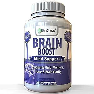 BioGanix Brain Boost Natural Brain Function Support Supplement - Mental Alertness Nootropic to Enhance Memory, Focus, Clarity & Energy /w Ginko Biloba Leaf, St. John's Wort, DMAE, L-Glutamine