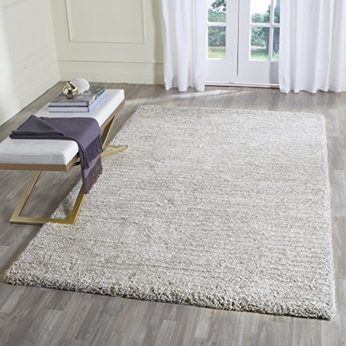 (Safavieh Ultimate Shag Collection SGU211D Handmade Silver Polyester Area Rug (5' x 8'))