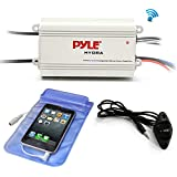 Pyle Auto 4-Channel Bridgeable Marine Amplifier - 200 Watt RMS 4 OHM Full Range Stereo with Wireless Bluetooth & Powerful Prime Speaker - High Crossover HD Music Audio Multi Channel System PLMRMB4CW
