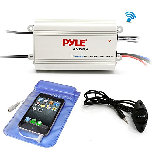 Pyle Auto 4-Channel Bridgeable Marine Amplifier - 200 Watt RMS 4 OHM Full Range Stereo with Wireless Bluetooth & Powerful Prime Speaker - High Crossover HD Music Audio Multi Channel System PLMRMB4CW ()