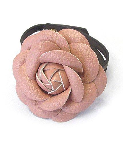 Leather Corsage - Destinee's Vintage rose Leather corsage button bracelet (Pink)