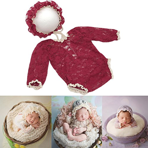Baby Photography Props Lace Hats Rompers Newborn Girl Photo Shoot Outfits Hat Set Infant Princess Costume (Red)