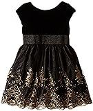 Us Angels Little Girls' Dress Floral Embroidered Skirt with Velvet Bodice, Black, 5