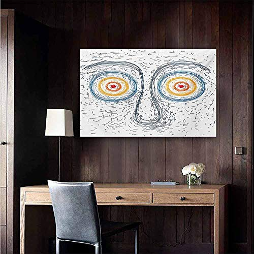 (duommhome Psychedelic Modern Frameless Painting Confused Man Portrait Human Face with Large Hypnotic Eyes Trance Hand Drawn Bedroom Bedside Painting 47
