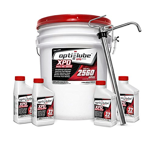 Opti-Lube XPD Formula Diesel Fuel Additive: 5 Gallon Pail with 1 Heavy Duty Metal Pail Pump and 4 Empty 8oz BottlesTreats up to 2,560 Gallons