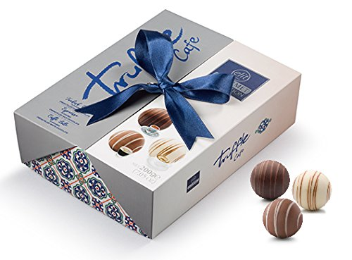 (Elit - Gourmet Collection Chocolate Truffles (Turkish Coffee, Caffe Latte & Espresso filling) Gift Box with Ribbon - (Cafe - 200 gr) (15 Count))