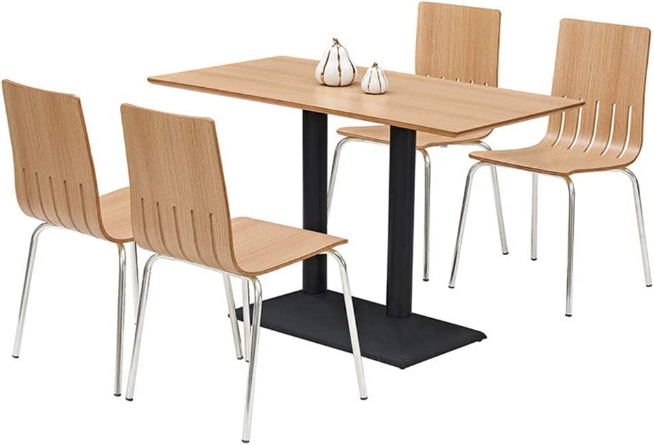Vbarv 5 Piece Dining Table And Chair Set With 4 Wooden Chairs Black Cast Iron Chassis For Dining Room Kitchen Restaurant Etc Amazon De Kuche Haushalt