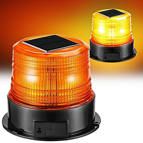 (Solar Strobe Light,Wireless Waterproof Amber Flashing Beacon Lights with Magnet Base Flash Rotating/Steady Burning Fixed,Portable Emergency Warning Lights for Truck Vehicle Ship Bus Police Car)