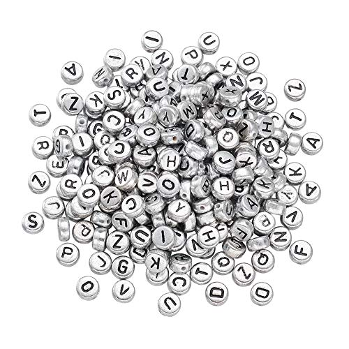 Craftdady 360Pcs Random Mixed Silver Letter Bead Kit Metallic Acrylic Flat Round Alphabet Craft Beads 7x3.5mm DIY Jewelry Necklace Bracelet Making with 1mm Hole