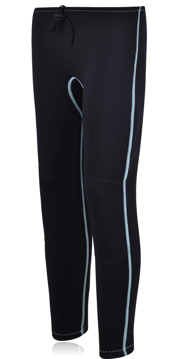 Realon Swim Tights Wetsuit Pants Women 3mm Neoprene and 2mm Men Youth Triathlon Outdoor Sport UV Suit Leggings Girls Boys XSPAN Surfing Scuba Diving Snorkel (2mm Wetsuit Pants/Light Blue, XL) by REALON