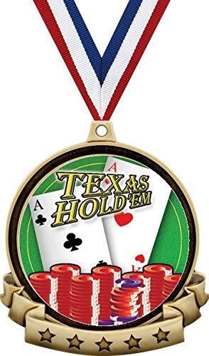 ポーカーメダル - 2.5インチ ゴールド テキサスホールデムポーカーメダルアワード 赤 白 青 ネックリボン付き 最高のトランプ賞 プライム B07MSJZPBN  100