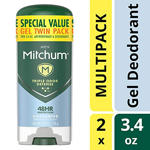 Free Perspirant Anti Gel Alcohol - Mitchum Men Gel Antiperspirant Deodorant Twin Pack, Unscented, 3.4oz.