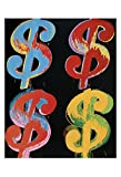 Four Dollar Signs, c.1982 (blue, red, orange, yellow) Art Print Art Poster Print by Andy Warhol, 13x19