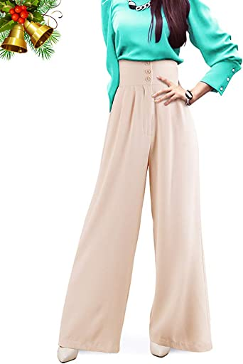Womens Buckle Front Wide Leg Trousers Smart Flared Spring Pants Belt