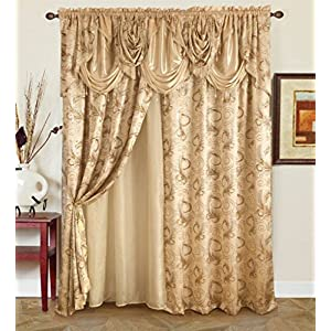 Golden Linen Jana Collection 2pc Curtain Set with Attached Valance and Backing 55″X84″ Each
