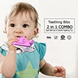 [3 Pack] Bandana Teething Bibs, Baby Bib with Teether Toy for Drooling, Teething and Chomping, 100% Cotton, Soft & Absorbent, BPA-Free Food-Grade Silicone Teether, Adjustable Snaps for Boys Girls